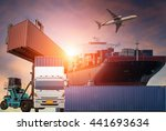 container truck  ship in port... | Shutterstock . vector #441693634