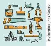 Redecoration tools. Vector icon set.