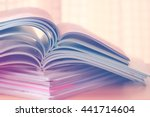 close up stacking of magazine ... | Shutterstock . vector #441714604