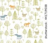 forest seamless pattern. hand... | Shutterstock . vector #441719038