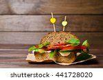 sandwich with smoked meat and... | Shutterstock . vector #441728020