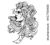 vector tattoo template on white ... | Shutterstock .eps vector #441750400