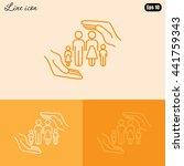 line icon  family life insurance   Shutterstock .eps vector #441759343