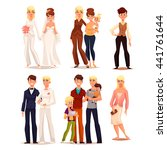 set of different families ... | Shutterstock .eps vector #441761644