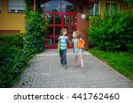 boy and girlie go to school... | Shutterstock . vector #441762460