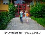boy and girlie go to school...   Shutterstock . vector #441762460