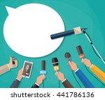 few hands of journalists with... | Shutterstock .eps vector #441786136