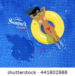 young woman resting on floating ... | Shutterstock .eps vector #441802888