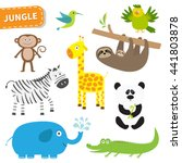 cute jungle animal set. cute... | Shutterstock .eps vector #441803878