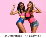 two pretty girl posing over the ... | Shutterstock . vector #441839464