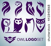 Stock vector owl logo set 441840868