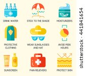 summer skin protection icons.... | Shutterstock .eps vector #441841654