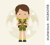 happy boy scout with backpack... | Shutterstock .eps vector #441842458