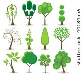 a variety of stylized trees   Shutterstock .eps vector #44184556