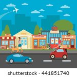 small town. urban cityscape... | Shutterstock .eps vector #441851740