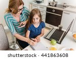 mather working at home in the... | Shutterstock . vector #441863608