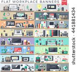 set of flat workplace web... | Shutterstock .eps vector #441881434