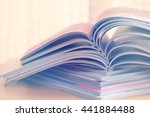 close up stacking of magazine | Shutterstock . vector #441884488