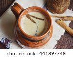 Small photo of Mexican traditional beverage, atole. Made from amaranth seeds and cinnamon.