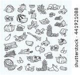 fruit and veggies doodle set | Shutterstock . vector #441921088