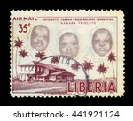 Small photo of LIBERIA - CIRCA 1957: stamp printed by Liberia, shows the kamara triplet, with inscription antoinette tubman child welfare foundation, circa 1957