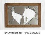 broken mirror on white wooden   Shutterstock . vector #441930238