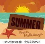 serene sunset view in seascape... | Shutterstock .eps vector #441930934
