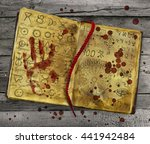 Alchemy Book With Bloody Hand...