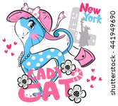 Cartoon Sweet Cat Girl Wearing...