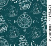 seamless pattern with sea... | Shutterstock .eps vector #441951676