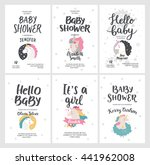 baby shower posters  vector... | Shutterstock .eps vector #441962008