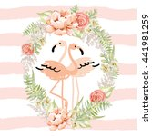 blush pink tropical birds... | Shutterstock .eps vector #441981259