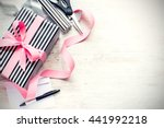 gift box wrapped in black and... | Shutterstock . vector #441992218