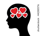 silhouette of head with hearts... | Shutterstock .eps vector #44200576