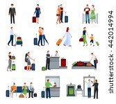 people in airport flat color... | Shutterstock .eps vector #442014994
