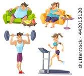 obesity and health cartoon set... | Shutterstock .eps vector #442015120