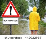 woman on a flooded area  ... | Shutterstock . vector #442022989