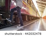 young man waiting for train on... | Shutterstock . vector #442032478