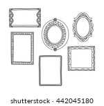 vintage photo frame in doodle... | Shutterstock . vector #442045180