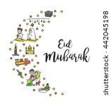 eid mubarak doodle | Shutterstock . vector #442045198