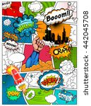 comic book page divided by... | Shutterstock . vector #442045708