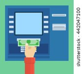 payment through atm  withdrawal ... | Shutterstock .eps vector #442047100