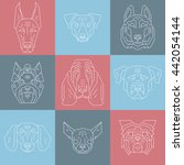 collection of dog's heads in... | Shutterstock .eps vector #442054144