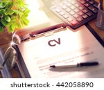 cv on clipboard. composition on ... | Shutterstock . vector #442058890