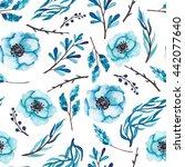 watercolor winter flowers... | Shutterstock . vector #442077640