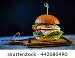 tasty grilled beef burger with... | Shutterstock . vector #442080490