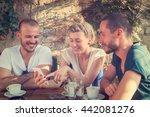 urban friends using cellphone... | Shutterstock . vector #442081276
