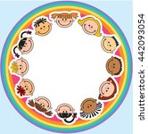 the world children in a circle... | Shutterstock .eps vector #442093054