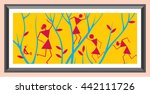 indian tribal painting. warli... | Shutterstock .eps vector #442111726