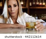drunk woman alone in wasted and ... | Shutterstock . vector #442112614